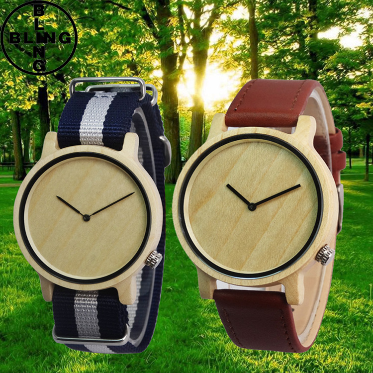2017 newest design wholesale Wood watch custom logo fashion leather wrist men's watch