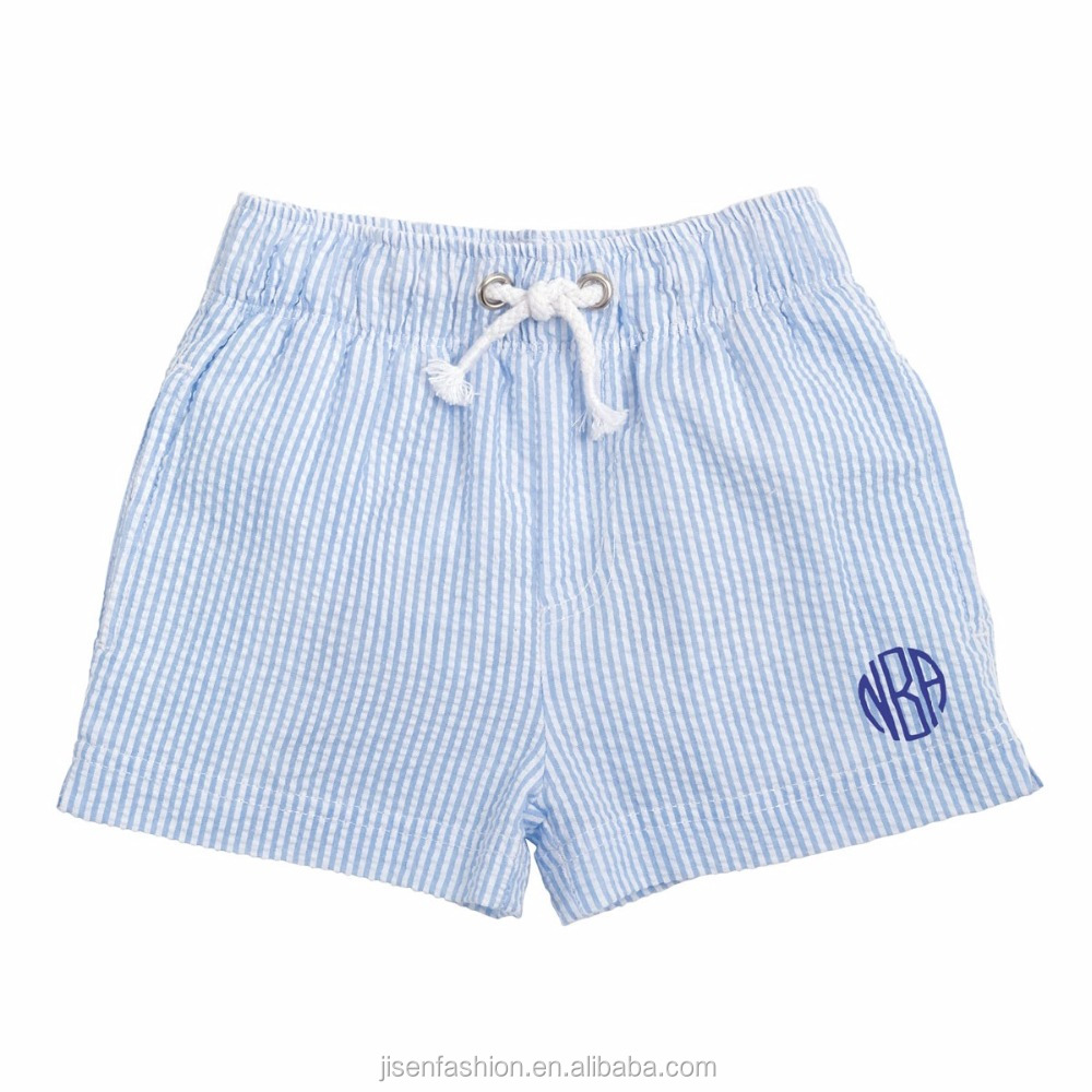 blue seersucker elastic waistband monogram boy summer shorts