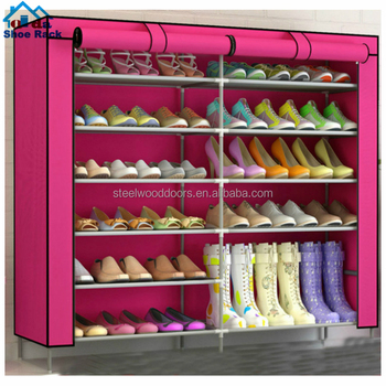 Steel tube in 16mm with powder coated non-woven fabric shoe rack