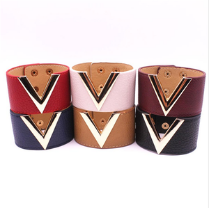 broad color leather band bracelets with alloy metal sides special fashion chic custom leather bracelets