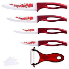 Ceramic Knife Set Red Flower Blade Red Handle 4 Piece Knife + A Sharp Peeler Good Kitchen Knives Ceramic Cooking Tools For Sale