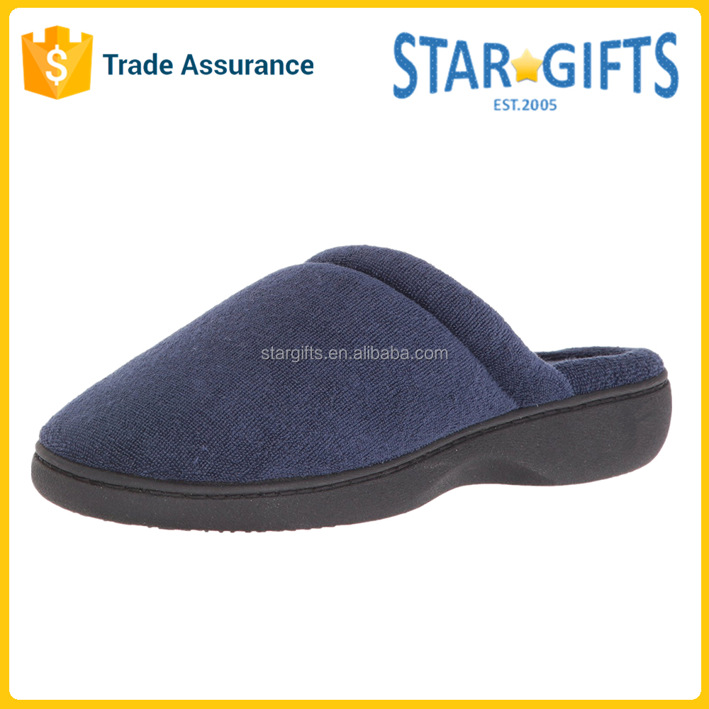 China Factory Price Breathable Cotton-Blend Terry Man Indoor Slippers With EVA Outsole