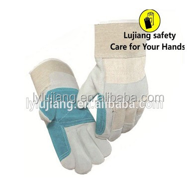 LUJAING SAFETY 4XL calf skin leather gloves ab grade cow split leather working glove