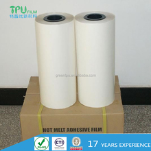 Low temperature polyester hot melt adhesive film for footwear and leather
