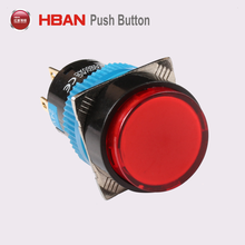 16mm round illuminated latching single pole single throw push button ON-OFF switch