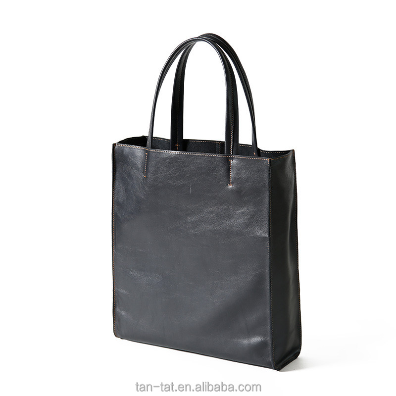 Women Black Fashion Cow Wax Oil Leather Tote Bag