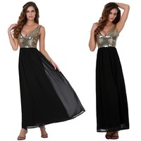 Stylish Lady Women's Sequin Chiffon Sleeveless Backless Maxi Prom Cocktail Smart Elegant Dress SV018565