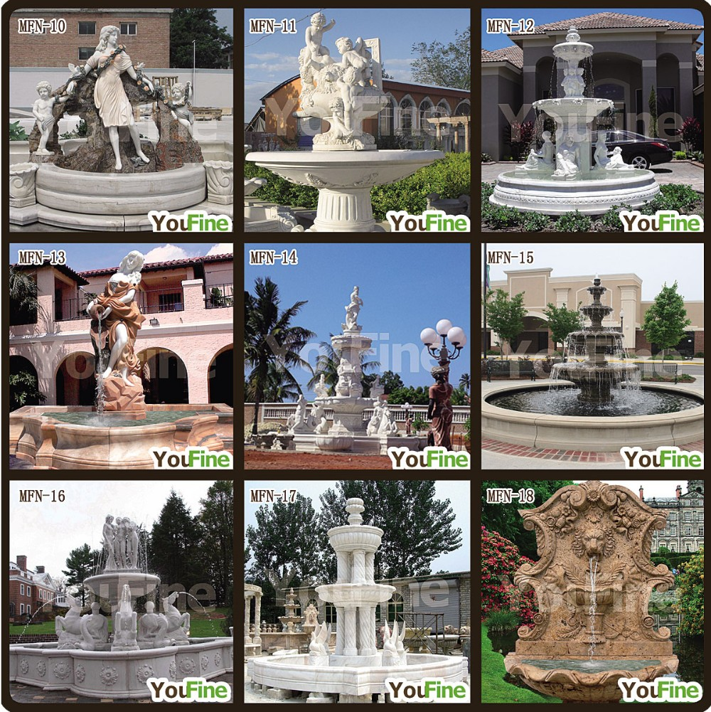 Outdoor Garden Large Marble Fountain with Lady Statues