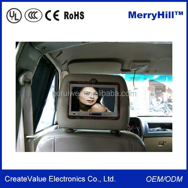 "Car Pillow TFT LCD Screen 7"" 9"" 10"" Inch LCD TV Monitor For Car Back Seat"