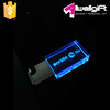 Rectangle Blue LED Crystal USB 3.0 Flash Drive with 3D laser logo
