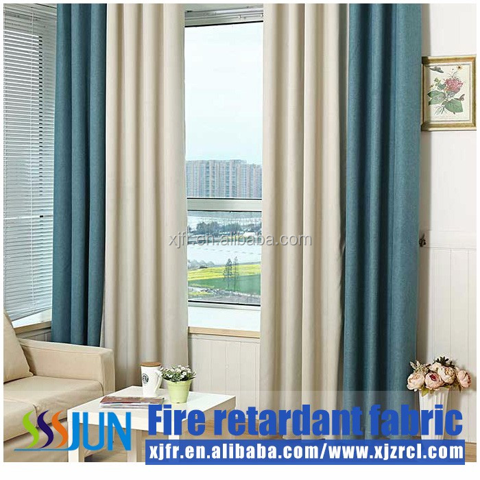 China Made 100% polyester FR linen type curtain fabric used hotel curtains and drapery