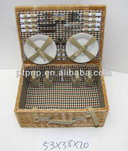 Natural wicker picnic basket with plate