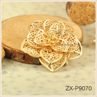 High Quality Matt Gold Rose Flower 3D Vintage Jewelry Pendant