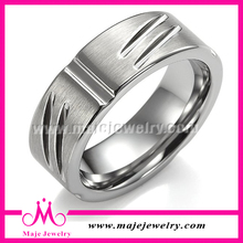 hot selling engravable matte surface cool silver arabic rings