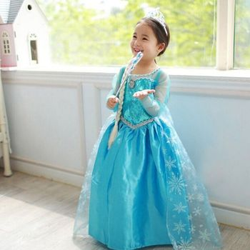 (Hot Selling) 2017 Brand New Five Sizes Children Frozen Elsa Dress