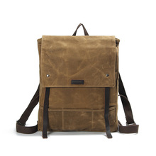 cheap price capacity fashion style leisure waxed canvas backpack