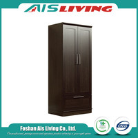 Used Design Dark Color Solid Wood Portable Armoire Furniture Wardrobe
