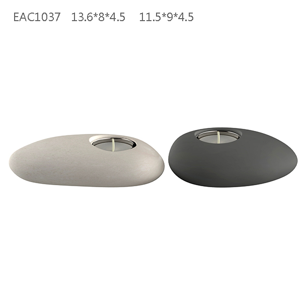 Oval stone shape trendy cement home ornament tealight candle holder