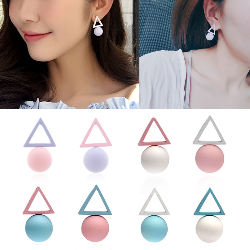 Fashion 1Pair Aiffry Triangle Different Candy Color Earrings For Women Stud Earrings Clear Korean Style