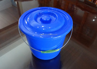 5L plastic bucket with lid, steel handle, plastic barrel and pail