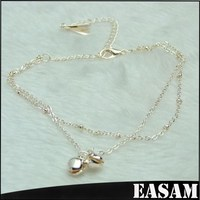 Double layers bells charming Silver Wholesale Anklet Bracelet for women