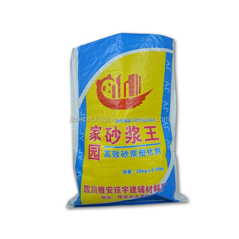 50kg 25kg strong blue, yellow color printing pp woven cement, mortar bag