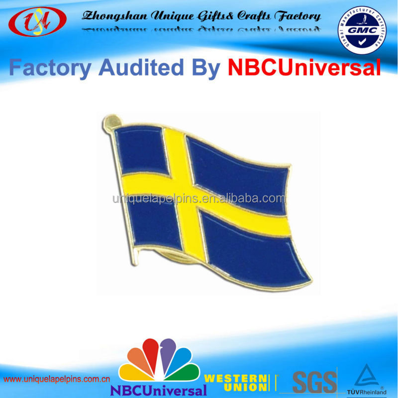 High Quality Customized Country Flags Metal Lapel Pin Badge/Sweden
