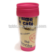 Plastic double wall travel mug with insert paper