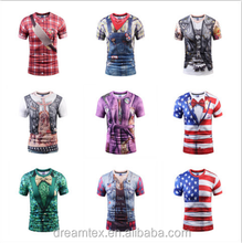 2017 digital printing t-shirt men's 3D t shirt false two piece t-shirt
