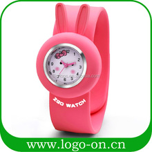 2014 hot sale cute rabbit silicone slap band watch