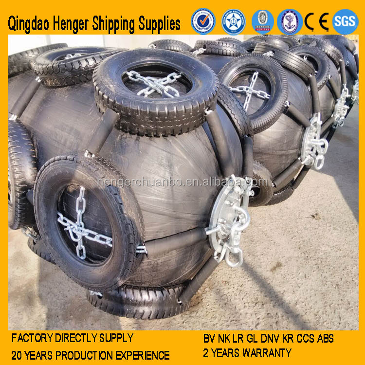 Marine Pneumatic Rubber Fender with Galvanized Chain and Aircraft Tire Made in China