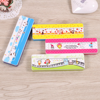 2016 cheap simple one layer plastic pencil box stationery case with ruler DMS029