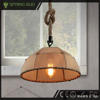 Home decoration retro style semicircle shaped vintage rattan pendant lamp with Hemp rope