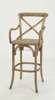 Antique Wooden Bistro Barstool/ Cross Back High chair(KY-3045-OAK)