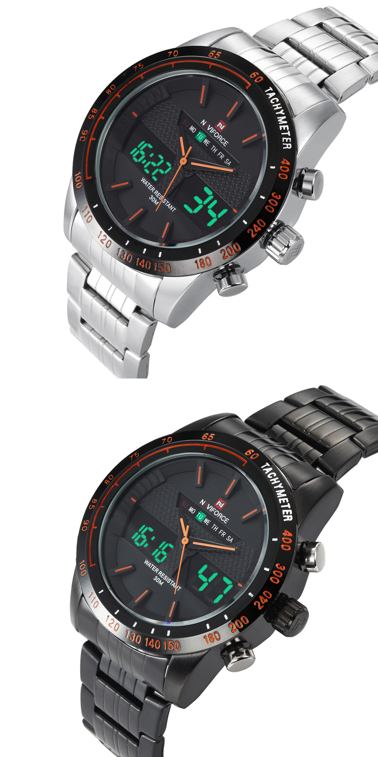 Brand Watch NAVIFORCE 9024 Top luxury 2 time zone digital quartz clock full steel 8 colors waterproof sports military led watch