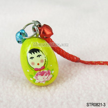 Mixed colors wooden Russian doll mobile phone security strap