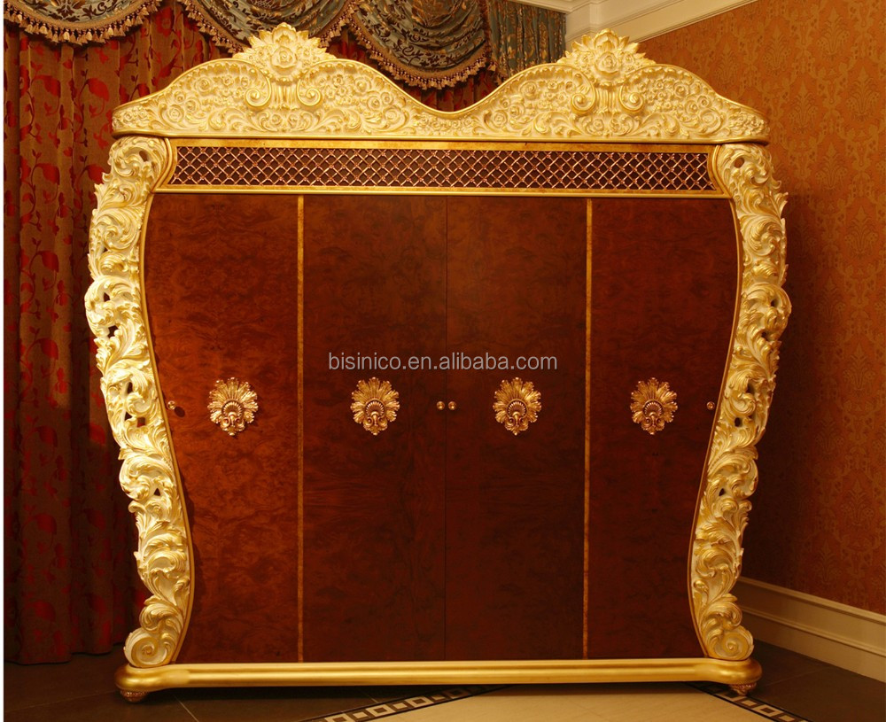 French rococo design bedroom furniture golden wood carved for Fancy vanity mirror
