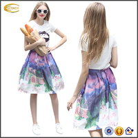 Ecoach Wholesale OEM European Style ladies 2Pcs Sequin Lip White o neck shorts sleeve Top print Bubble Skirt Suits with Sequins