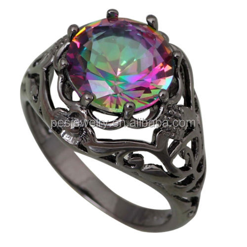 PES Fashion Jewelry!Shiny Rainbow Mystic Unisex Topaz Women's rings Black Gun(PES6-1406)