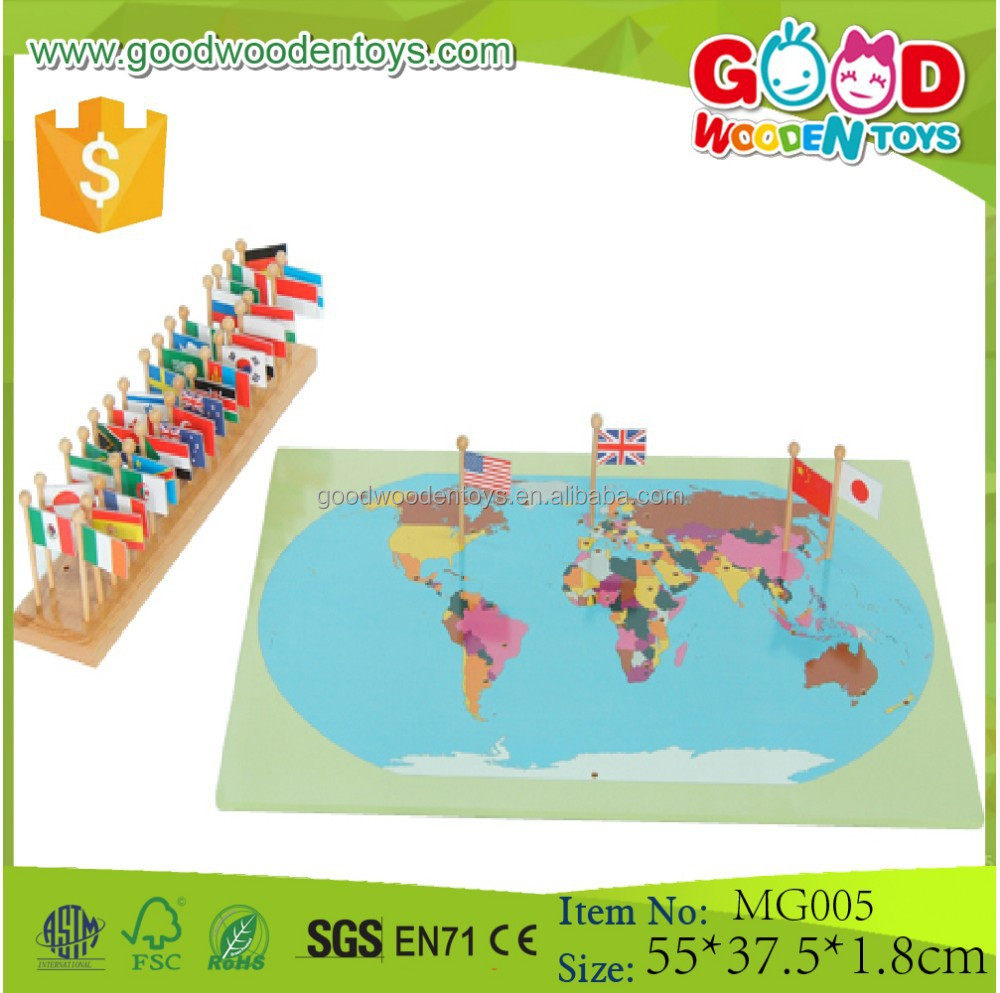 List manufacturers of world map wood puzzle buy world map wood educational montessori geography flag stand world map with flags puzzles games toys for kids gumiabroncs Choice Image