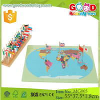Educational Montessori Geography Flag Stand World Map with Flags Puzzles Games Toys for Kids