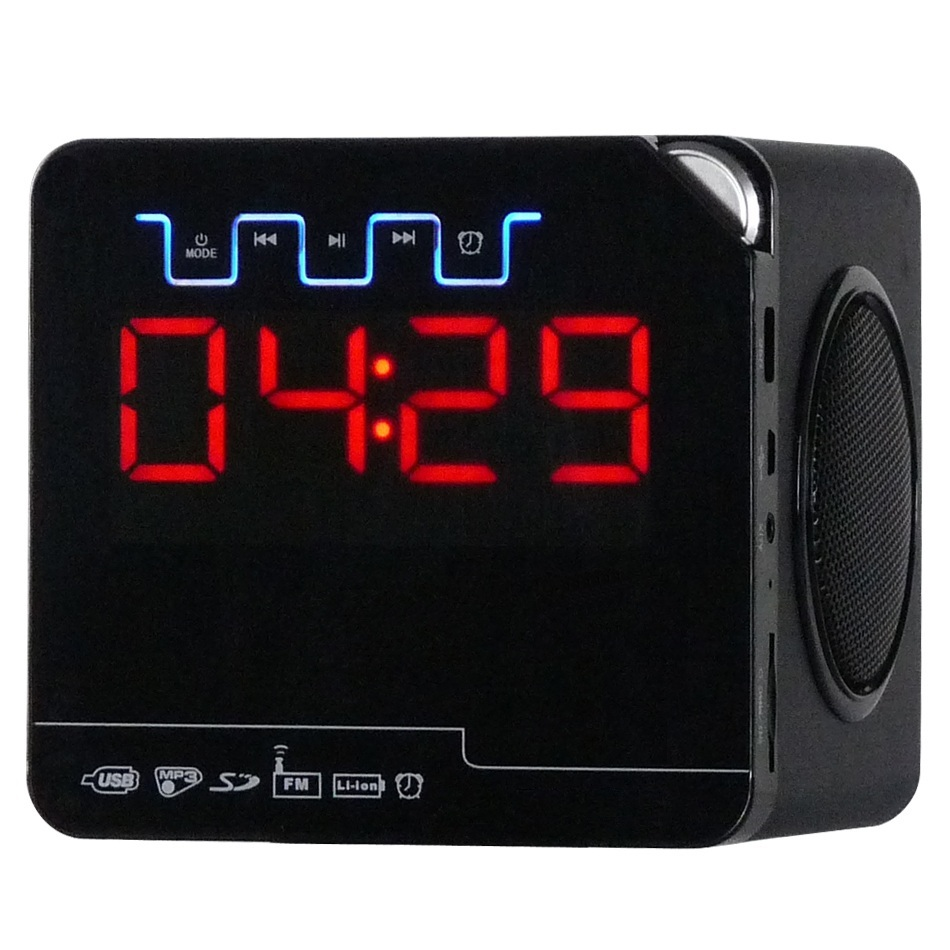 Clock radio 2.1 speaker with usb/sd/fm/remote control wood speakers