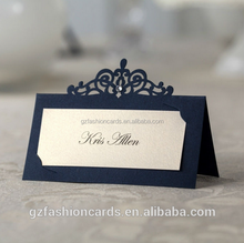 Cheap Custom Printed Laser Cut Navy Blue Wedding Table Name Cards