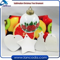 Personalised Ceramic white Sublimation blank christmas ornament/pendant with hole