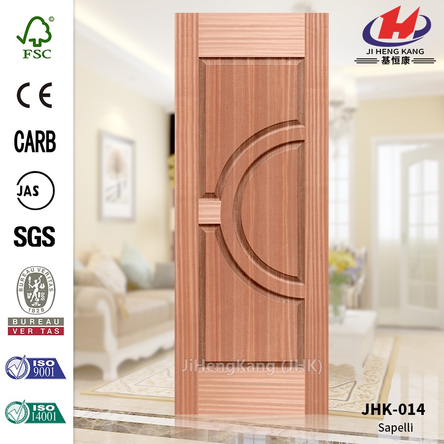 JHK-014 China Economic Price Manufacture Mountain Grain Natural Sapeli HDF Mold Export Semi-circle Door Panel