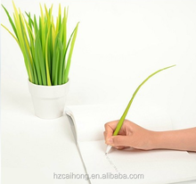Custom Silicone grass leaf pen ball point pen in pot CH-6677