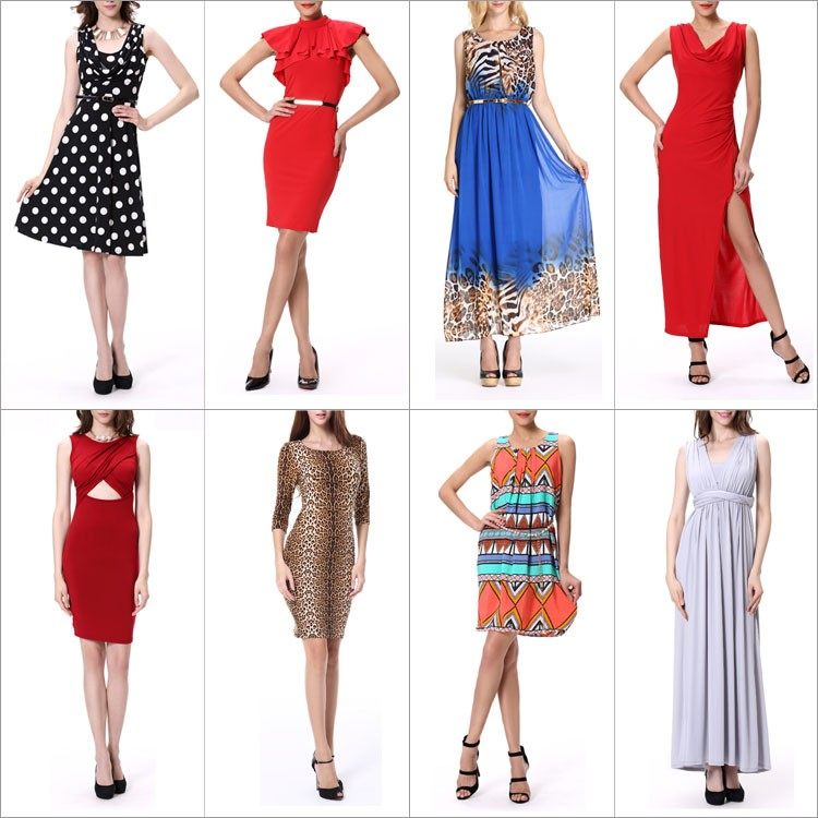 women smart casual long sleeveless  chiffon new style evening dress
