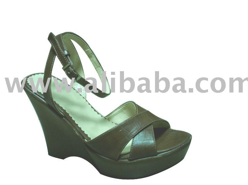 pu sandal wedge with high heel for woman 2010