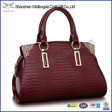 2015 handmade high quality genuine crocodile leather handbag