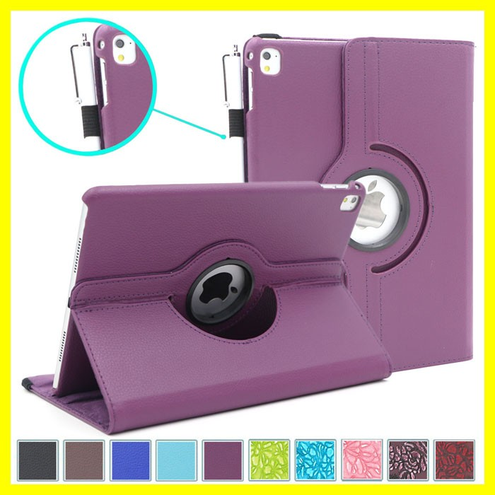 PU Leather Case for iPad Pro 9.7 Plain Color Smart Cover for iPad Pro Case with 360 Degree Rotating Stand